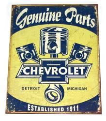 METAL GARAGE SIGN GENUINE PARTS CHEVROLET product image