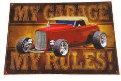 METAL GARAGE SIGN MY GARAGE RULES product image