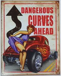METAL GARAGE DANGEROUS CURVES AHEAD product image
